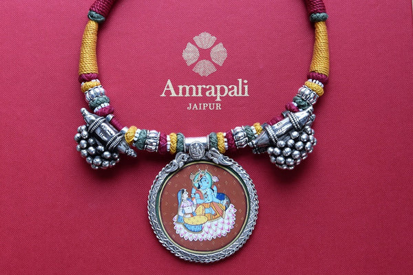 Buy traditional silver Amrapali thread necklace online from Pure Elegance or visit our store in USA. Shop handcrafted silver Indian jewelry online for various occasions.-closeup
