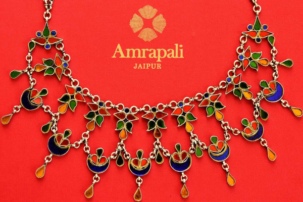 Buy silver Amrapali multicolored glass necklace online in USA. Pure Elegance store brings ethnic Indian necklace online USA perfect for various occasions.-closeup