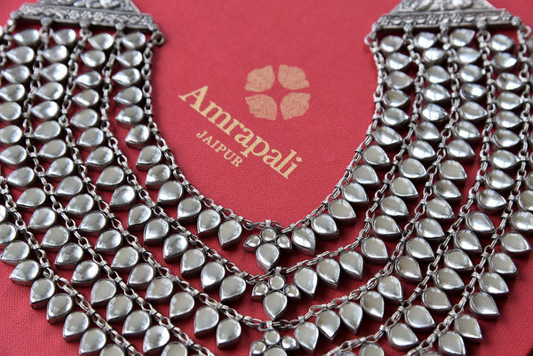 Buy beautiful Amrapali silver necklace online from Pure Elegance or visit our store in USA. Shop pure silver Indian necklace online to match traditional outfits.-closeup