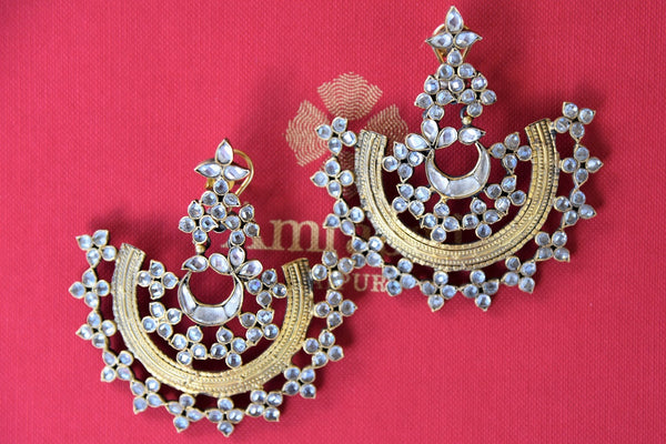 Buy beautiful Silver Gold Plated Glass Earrings online from Pure Elegance store. Shop traditional Indian gold plated jewelry, Indian earrings online in USA now.-closeup