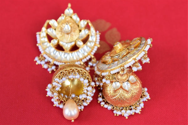 Buy Beautiful Silver Gold plated Jhumki with Pearl Drops online from Pure Elegance or visit our store in USA. Shop Indian jhumka earrings online for every occasion.-closeup