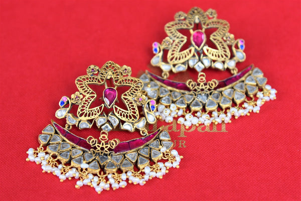 Buy Silver Gold plated Amrapali Earrings with Pearl Drops online from Pure Elegance or visit our store in USA. Shop Indian jewelry earrings online for every occasion.-closeup
