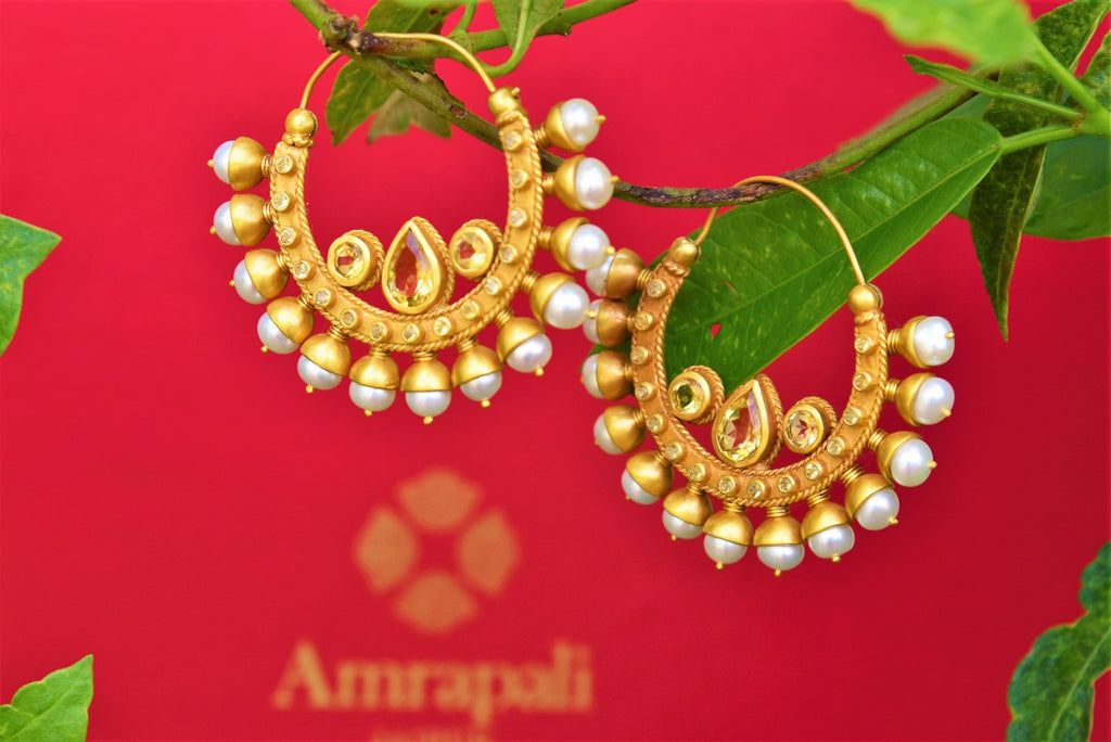 Buy silver gold plated hoop earrings online in USA from Amrapali. Pure Elegance fashion store brings exquisite collection of Indian ethnic gold plated earrings in USA.-closeup