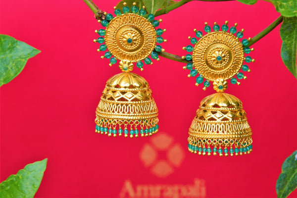 Buy silver gold plated Amrapali jhumka earrings online in USA. Pure Elegance fashion store brings exquisite collection of Indian ethnic gold plated jewellery in USA.-closeup