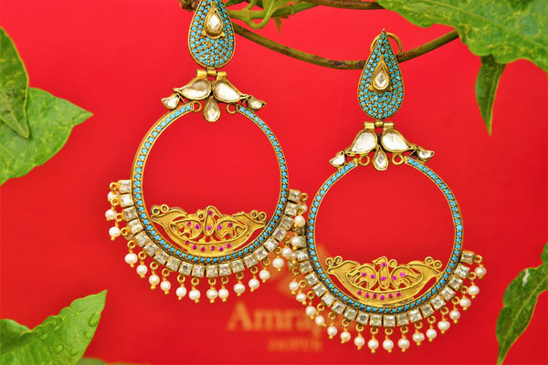 Buy silver gold plated Amrapali chandbali earrings online in USA. Pure Elegance fashion store brings exquisite collection of ethnic Indian gold plated earrings in USA.-closeup