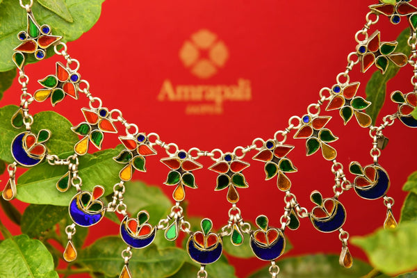 Buy silver gold plated multicolored Amrapali glass necklace online in USA. Pure Elegance fashion store brings an exquisite collection of  Indian silver jewelry in USA.-closeup
