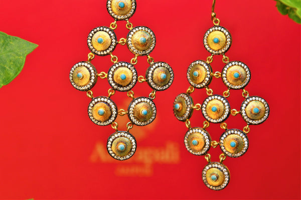 Buy silver gold plated Amrapali zircon and turquoise earrings online in USA. Pure Elegance fashion store brings exquisite collection of  Indian silver jewelry USA.-closeup