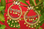 Buy Amrapali silver gold plated glass and zircon earrings online in USA. Pure Elegance fashion store brings an exquisite collection of Indian jewelry for weddings in USA. -closeup