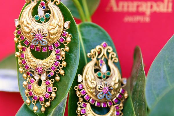 Buy silver gold plated zircon and glass Amrapali earrings online in USA. Pure Elegance fashion store brings exquisite variety of Indian gold plated jewelry in USA.-CLOSEUP