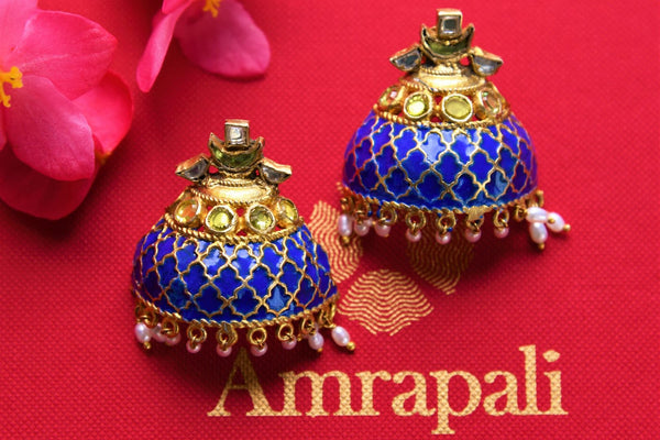 Buy silver gold plated enamel glass and pearl Amrapali earrings online in USA. Pure Elegance fashion store brings exquisite range of Indian gold plated jewelry in USA.-closeup