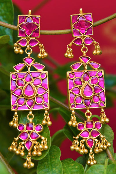 Buy silver gold plated pink glass Amrapali earrings online in USA. Pure Elegance fashion store brings exquisite range of Indian silver gold plated earrings in USA.-closeup
