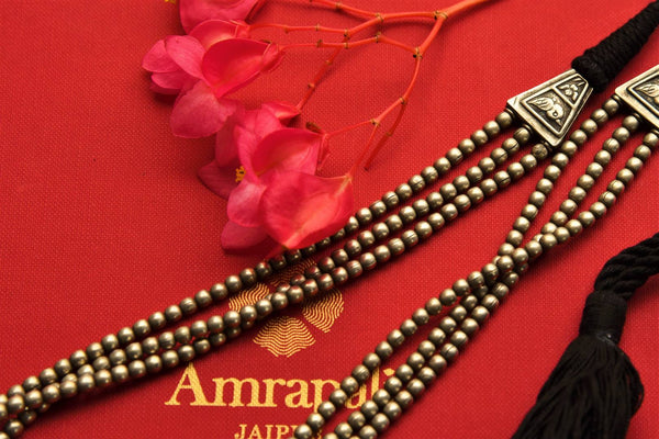 Buy layered taveez Amrapali silver necklace online in USA. Pure Elegance fashion store brings exquisite range of Indian silver gold plated jewelry in USA. Shop online.-closeup 2
