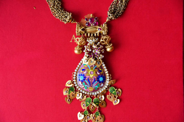 Buy silver gold plated enamel glass Amrapali necklace online in USA. Pure Elegance fashion store brings an alluring range of Indian silver gold plated necklaces in USA.-closeup
