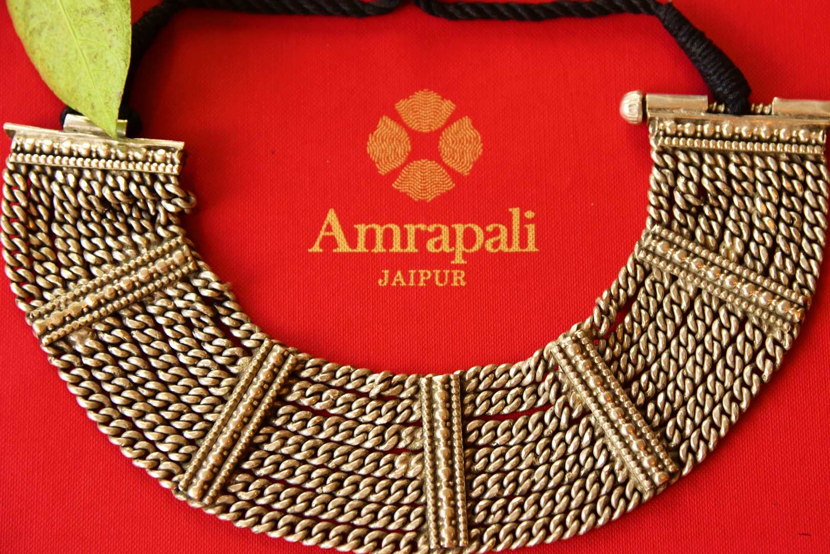 Buy Amrapali mutli chain silver necklace online in USA. Pure Elegance fashion store brings an alluring range of ethnic Indian silver gold plated jewelry in USA.-closeup