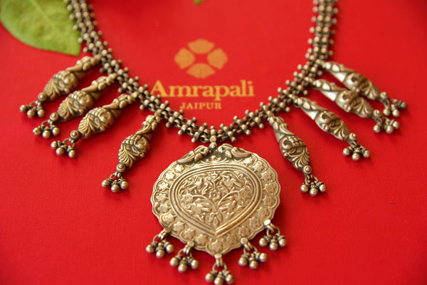 Buy Amrapali tribal silver necklace online in USA. Pure Elegance fashion store brings an alluring range of ethnic Indian silver gold plated jewellery in USA. Shop now.-closeup