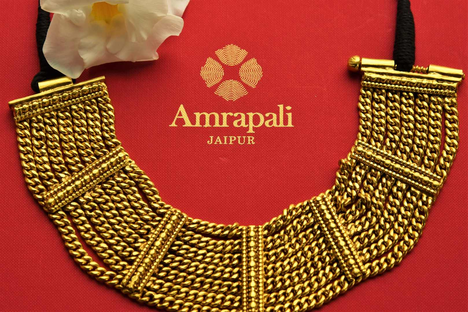 Buy Amrapali silver gold plated multi chain thread necklace online in USA. Pure Elegance fashion store brings exquisite range of Indian gold plated jewelry in USA. Shop online.-closeup