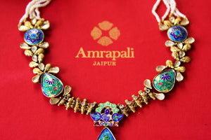 Buy Amrapali silver gold plated enamel glass and pearl necklace online in USA. Pure Elegance fashion store brings an alluring range of  Indian jewelry in USA. -closeup