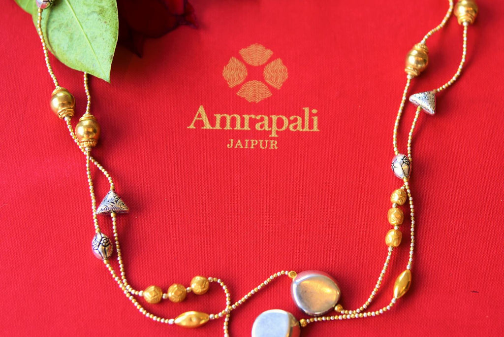 Buy Amrapali silver gold plated beaded necklace online in USA. Pure Elegance fashion store brings an alluring range of ethnic Indian silver jewelry in USA. Shop now.-closeup