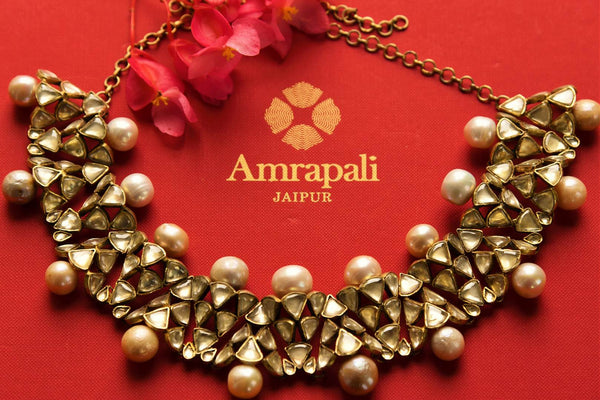 Buy Amrapali silver gold plated pearl and glass necklace online in USA. Pure Elegance fashion store brings a range of Indian silver gold plated jewelry in USA for women.-closeup