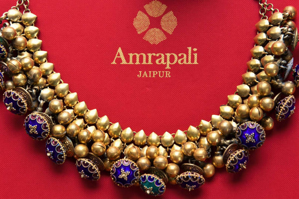 Buy Amrapali silver gold plated enamel necklace online in USA. Pure Elegance fashion store brings exquisite range of Indian wedding jewelry in USA. Shop online.-closeup