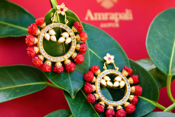 Buy silver gold plated Amrapali glass and pearl hoop earrings in USA. Pure Elegance fashion store brings exquisite variety of Indian gold plated jewellery in USA. -closeup