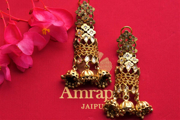 Buy Amrapali silver gold plated zircon earrings online in USA. Pure Elegance fashion store brings an exquisite range of Indian silver gold plated earrings in USA for women.-closeup