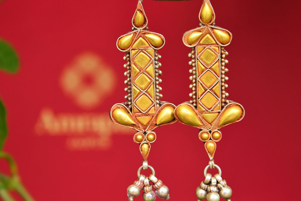 Buy Amrapali ethnic silver gold plated earrings online in USA. Pure Elegance fashion store brings an exquisite range of Indian silver earrings in USA for women.-closeup