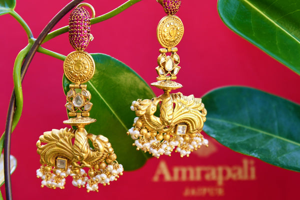 Buy online silver gold plated Amrapali colored zircon & stone earrings in USA. Pure Elegance fashion store brings exquisite variety of Indian jewelry in USA. Shop online.-closeup