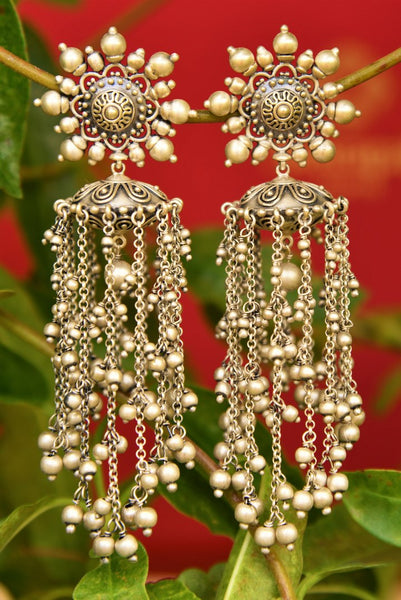 Buy Amrapali silver earrings with tassels online in USA. Pure Elegance fashion store brings an exquisite range of Indian ethnic silver earrings in USA for women.-closeup
