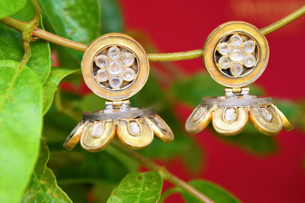 Buy Amrapali silver gold plated glass jhumka earrings online in USA. Pure Elegance fashion store brings an exquisite range of Indian silver gold plated earrings in USA.-closeup