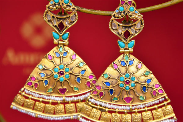 Buy Amrapali silver gold plated enamel turquoise and zircon earrings online in USA. Pure Elegance fashion store brings exquisite range of Indian earrings in USA. Shop online.-closeup