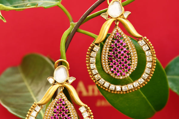 Buy silver gold plated Amrapali glass and zircon earrings online in USA. Pure Elegance fashion store brings exquisite variety of Indian ethnic earrings in USA. Shop online.-closeup