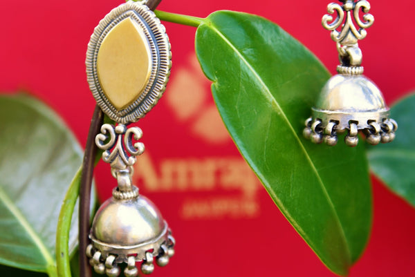 Buy silver gold plated Amrapali jhumka earrings online in USA. Pure Elegance fashion store brings exquisite variety of Indian ethnic silver earrings in USA. Shop online.-closeup