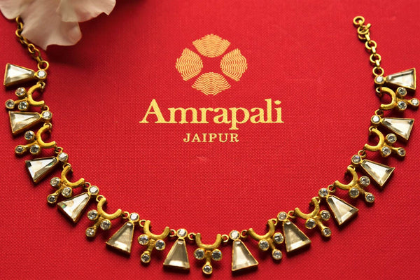 Buy silver gold plated glass Amrapali necklace online in USA. Pure Elegance fashion store brings an exquisite range of Indian wedding jewelry in USA. Shop online.-closeup