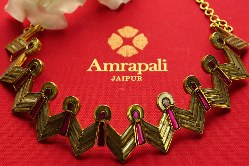 Buy stylish silver gold plated Amrapali glass necklace online in USA. Pure Elegance fashion store brings an exquisite range of Indian fashion jewelry in USA. Shop online.-closeup