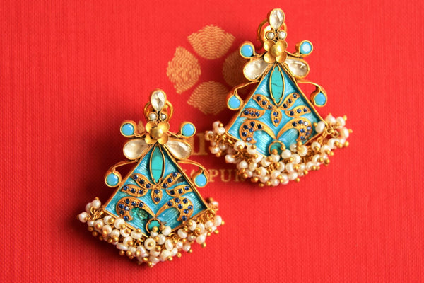 Buy silver gold plated Amrapali glass earrings online in USA with pearls cluster. Pure Elegance fashion store brings an alluring range of Indian fashion jewelry in USA.-closeup