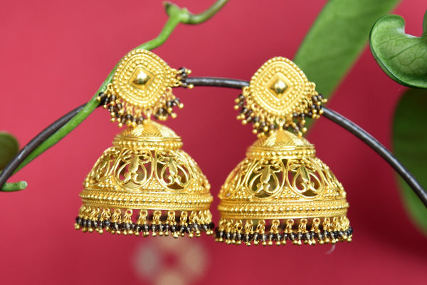 Amrapali heavy silver gold plated jhumka earrings shop online in USA. The earrings are an absolute must-have for the wedding season to add richness to your ethnic look. Add elegance to your style with more such Indian wedding jewelry available at Pure Elegance fashion store in USA or visit online.-full view