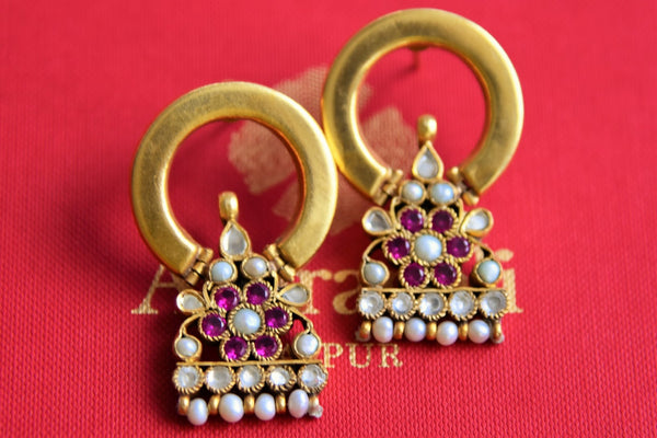 Buy Amrapali silver gold plated glass and pearl earrings online in USA. Pure Elegance fashion store brings alluring range of Indian silver gold plated earrings in USA for women.-closeup