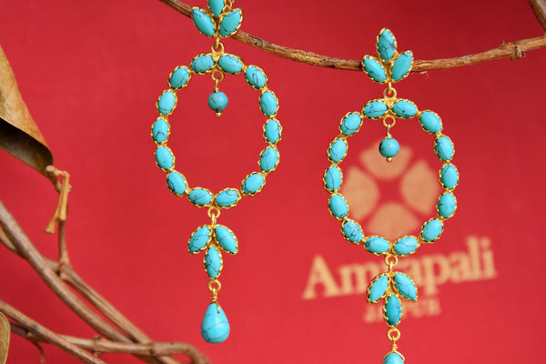 Buy silver gold plated Amrapali turquoise earrings online in USA. Choose from an exclusive range of Indian jewelry at Pure Elegance online store or visit our store in USA.-closeup