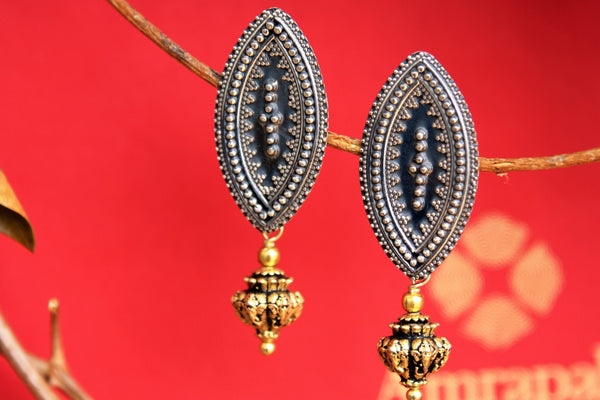 Buy silver gold plated Amrapali tribal earrings online in USA. Choose from exclusive range of Indian silver gold plated earrings at Pure Elegance online store or visit our store in USA.-closeup