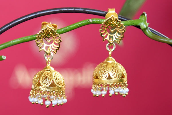 Buy silver gold plated Amrapali jhumka earrings online in USA. The elegant earrings are a versatile pick with hanging pearls for many special occasions. Brighten up your ethnic look with an exclusive collection of Indian silver gold plated jewelry available at Pure Elegance fashion store in USA or visit online.-full view