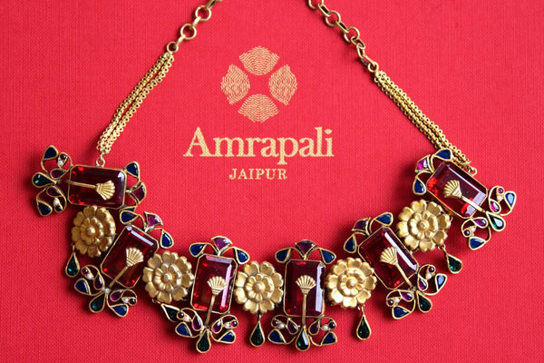 Buy Amrapali Silver Gold Plated Multicolored Glass Necklace Online In USA Pure Elegance Fashion Store
