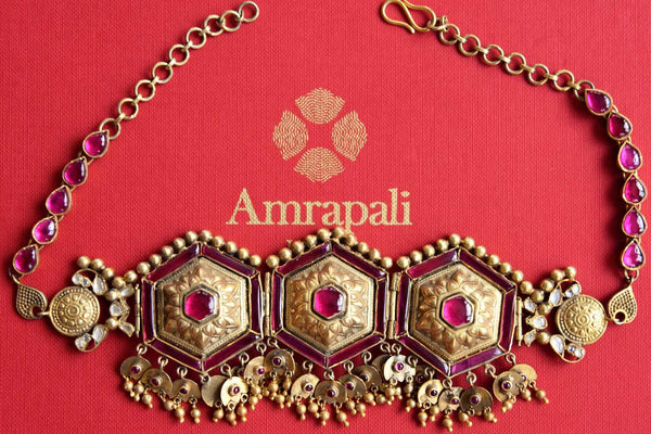 Shop Amrapali Silver Gold Plated Pink Glass Necklace Online In USA Pure Elegance Fashion Store