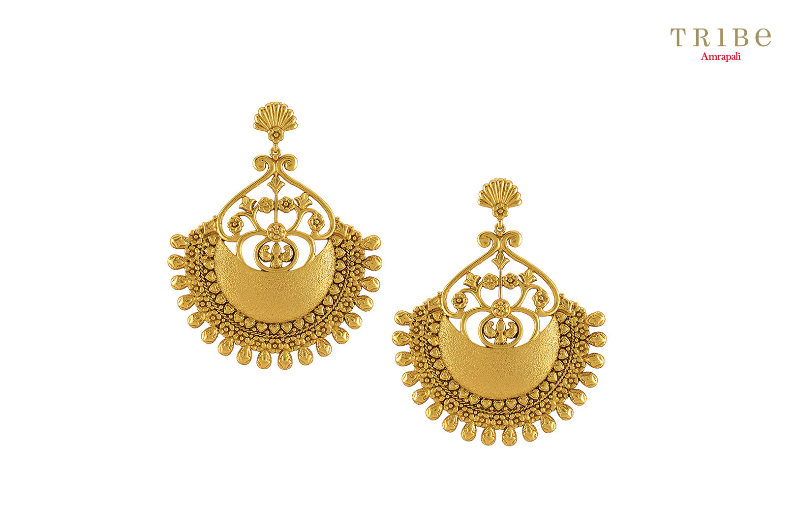 Buy beautiful silver gold plated textured flower fan dome earrings online in USA by Amrapali. The captivating earrings are a perfect match for Indian dresses and sarees. If you want to shop such ethnic Indian jewelry in USA, the look no further than Pure Elegance. You can shop at our exclusive fashion store or online.-front look