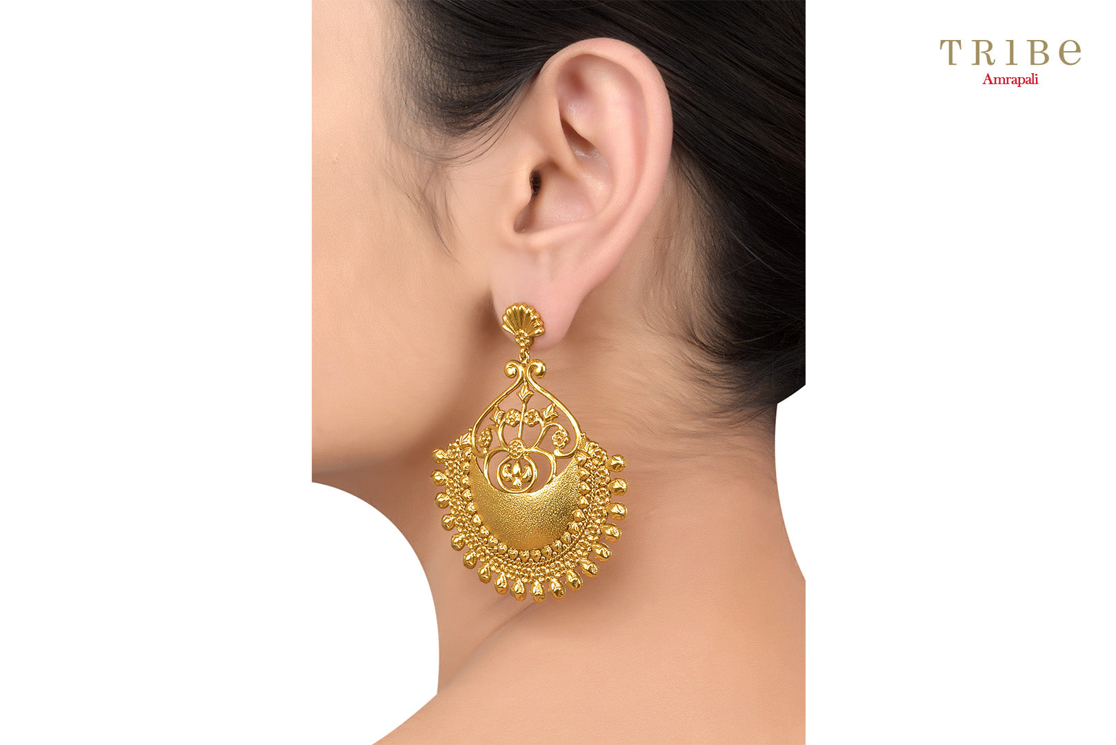 Buy beautiful silver gold plated textured flower fan dome earrings online in USA by Amrapali. The captivating earrings are a perfect match for Indian dresses and sarees. If you want to shop such ethnic Indian jewelry in USA, the look no further than Pure Elegance. You can shop at our exclusive fashion store or online.-earrings side view