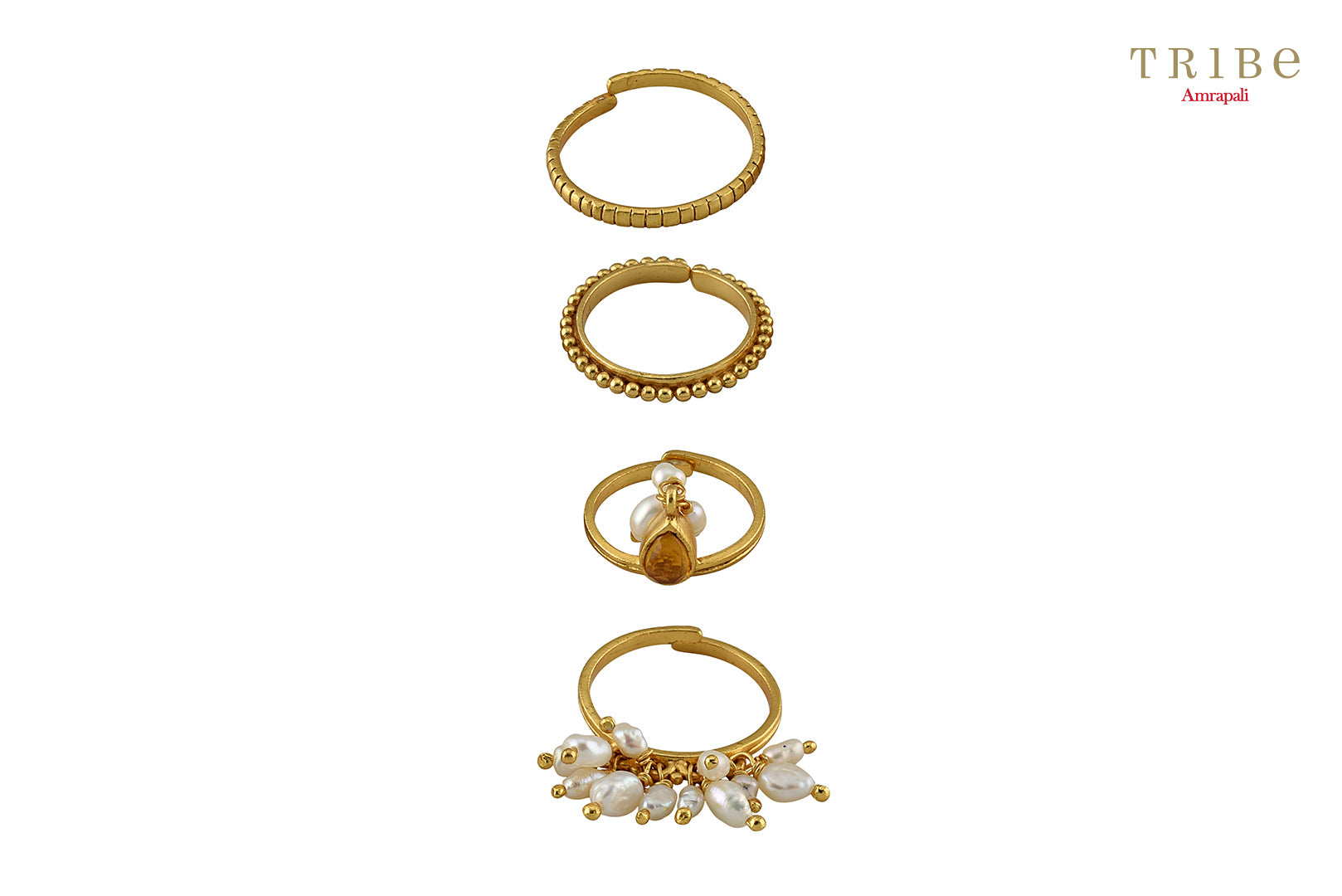 Buy silver gold plated pearl citrine stacking rings online in USA by Amrapali. The delicate rings are a perfect way to decorate your hands. If you want to shop such ethnic Indian silver gold plated jewelry in USA, then look no further than Pure Elegance. You can shop at our exclusive fashion store or online.-full view