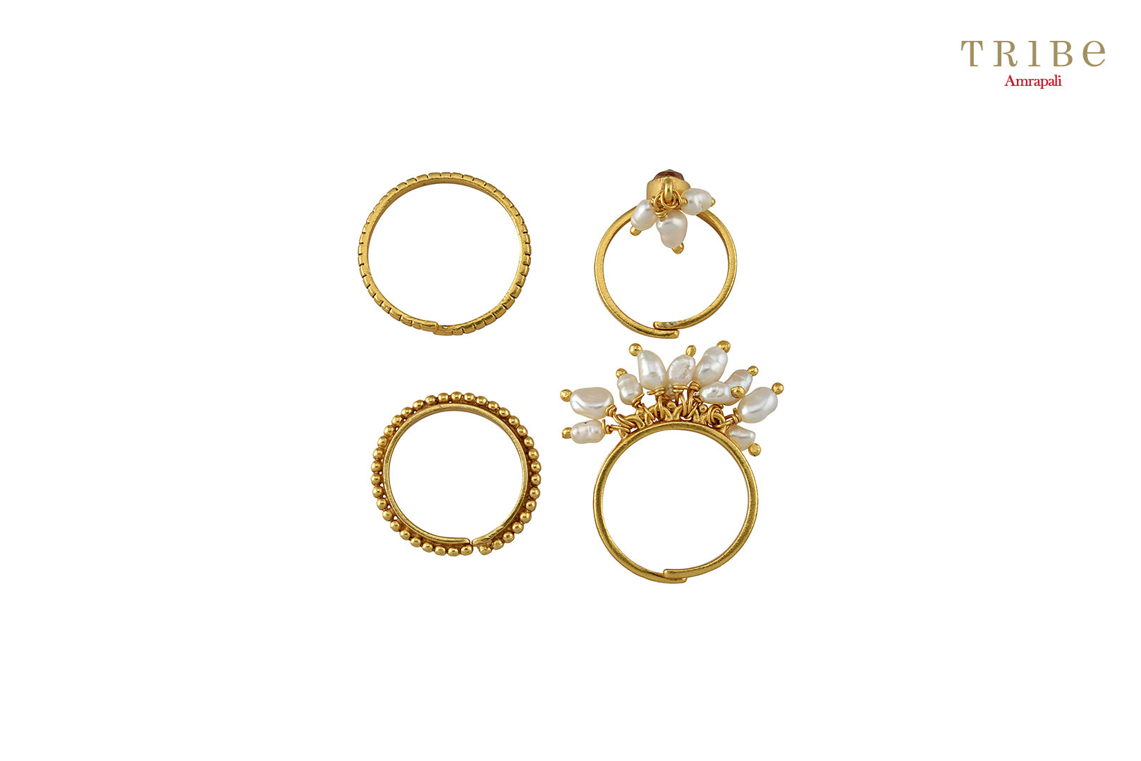 Buy silver gold plated pearl citrine stacking rings online in USA by Amrapali. The delicate rings are a perfect way to decorate your hands. If you want to shop such ethnic Indian silver gold plated jewelry in USA, then look no further than Pure Elegance. You can shop at our exclusive fashion store or online.-front look