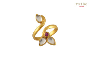 Buy delicate silver gold plated crystal leaf ring online in USA by Tribe Amrapali. The crystal ring is a unique jewelry piece for your hands. If you want to shop such ethnic Indian silver gold plated jewelry in USA, then look no further than Pure Elegance. You can shop at our exclusive fashion store or online.-full view