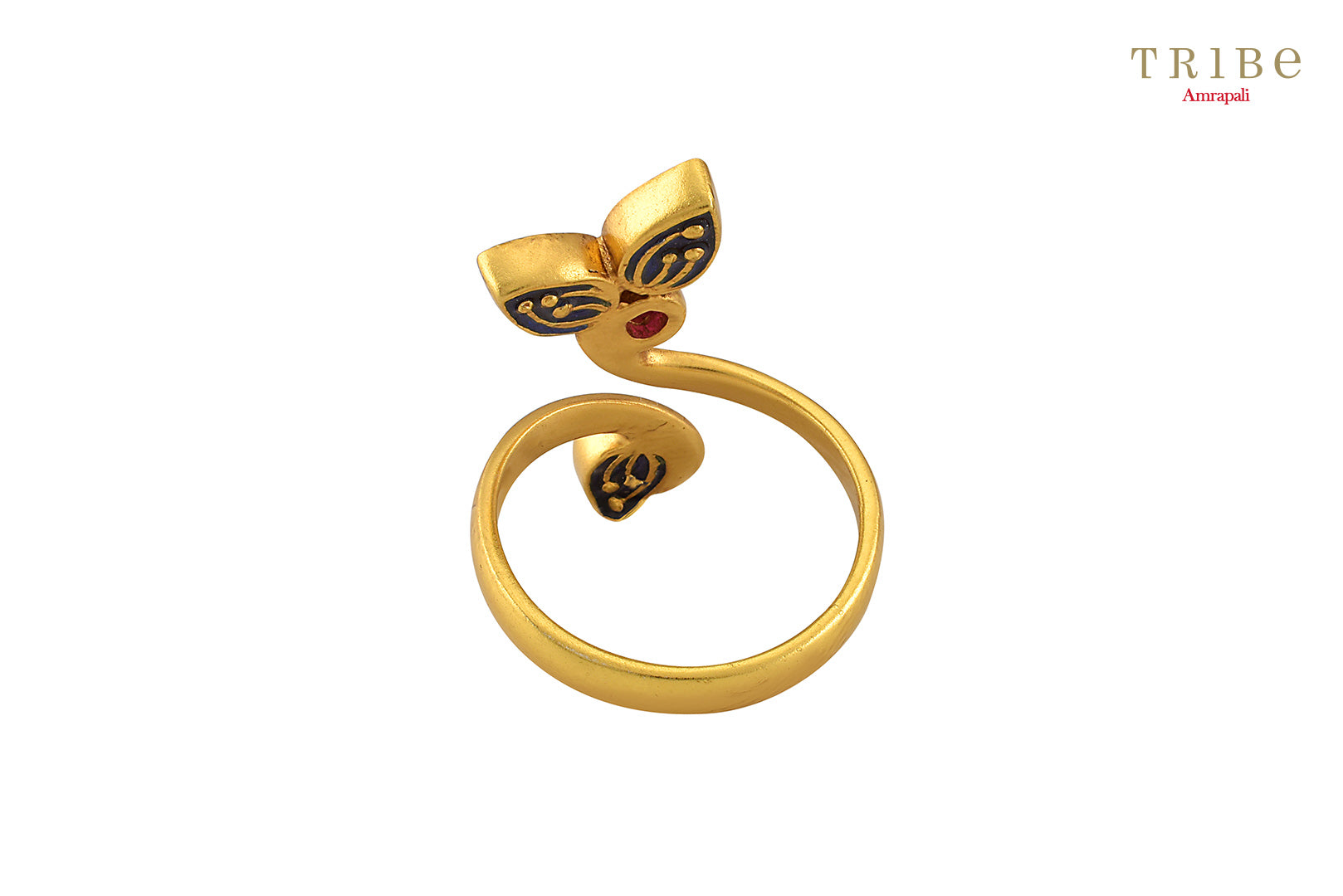 Buy delicate silver gold plated crystal leaf ring online in USA by Tribe Amrapali. The crystal ring is a unique jewelry piece for your hands. If you want to shop such ethnic Indian silver gold plated jewelry in USA, then look no further than Pure Elegance. You can shop at our exclusive fashion store or online.-front look
