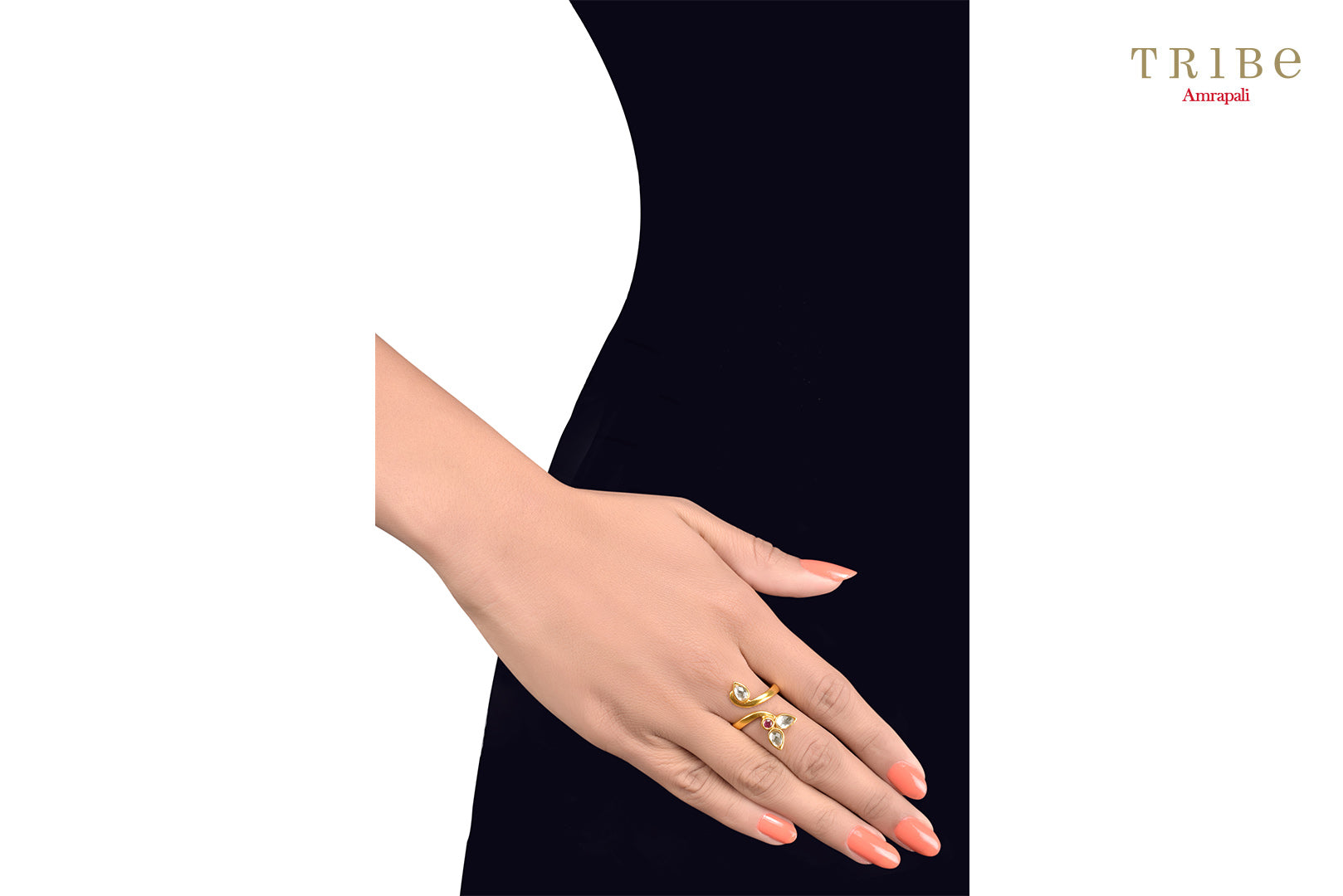 Buy delicate silver gold plated crystal leaf ring online in USA by Tribe Amrapali. The crystal ring is a unique jewelry piece for your hands. If you want to shop such ethnic Indian silver gold plated jewelry in USA, then look no further than Pure Elegance. You can shop at our exclusive fashion store or online.-hands view